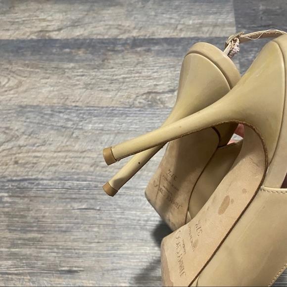 Paprika Shoes   Nude Patent Leather Opentoe Platform Heels